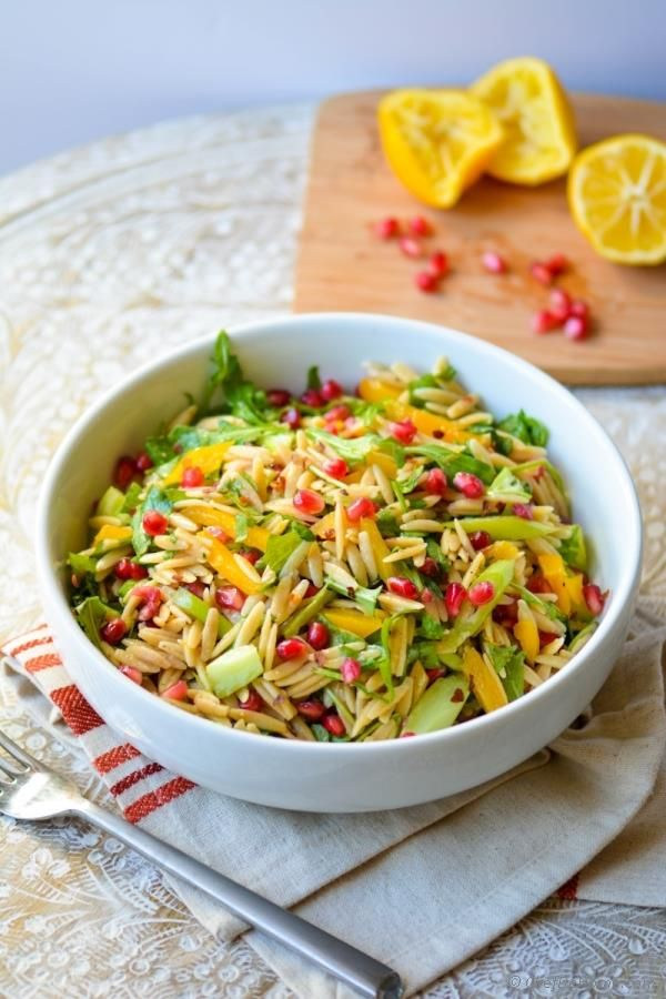 Lite and Fit Whole Wheat Orzo Pasta Salad #vegan #brunch #salad