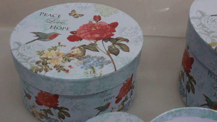Набор подарочных коробок из 3шт  Круг, голубой  цветы, птичка Артикул 12971