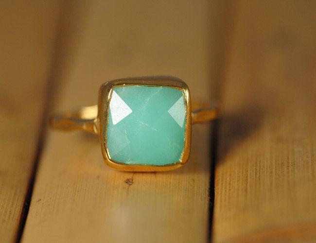 Chrysoprase Ring - Gemstone Ring - Gold Ring - Bezel Ring - Stackable Ring Mother's Day Gift. $66.00, via Etsy.