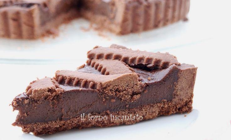 la crostata al cioccolato di E. Knam è un dolce stratosferico che vi spara dritti in cielo! l'abbinamento crema pasticcera e ganache è strabiliante