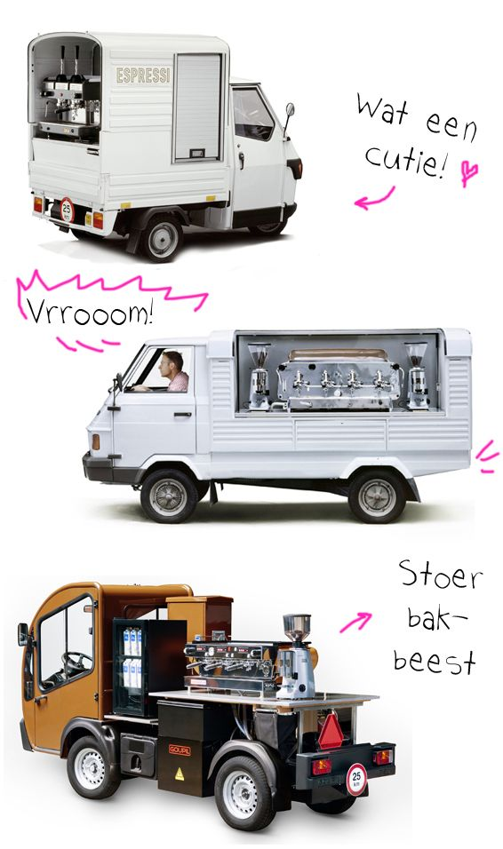 Check out these three awesome coffee trucks! I'm a sucker for the cute Piaggo Ape truck...