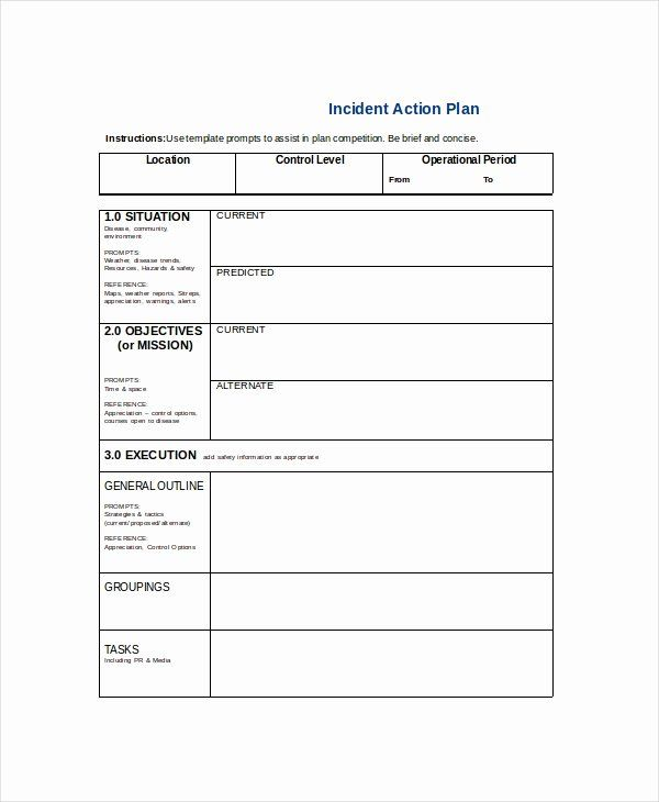 Incident Action Plan Template In 2020 Action Plan Template