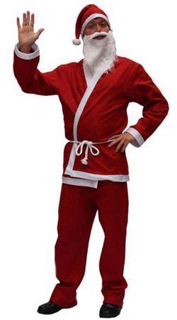 Voordelig kerstman kostuum voor volwassenen. Zeer voordelig en compleet kerstman kostuum bestaande uit een muts, vest, broek, koord, en klein baardje. Het pak is gemaakt van flanel katoen. Het pak bestaat uit 1 maat (M/L).