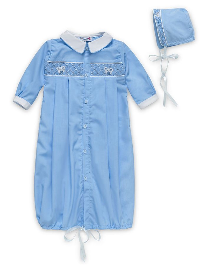 Aurora Royal Baby Boys Blue Hand Smocked Gown-Sack And