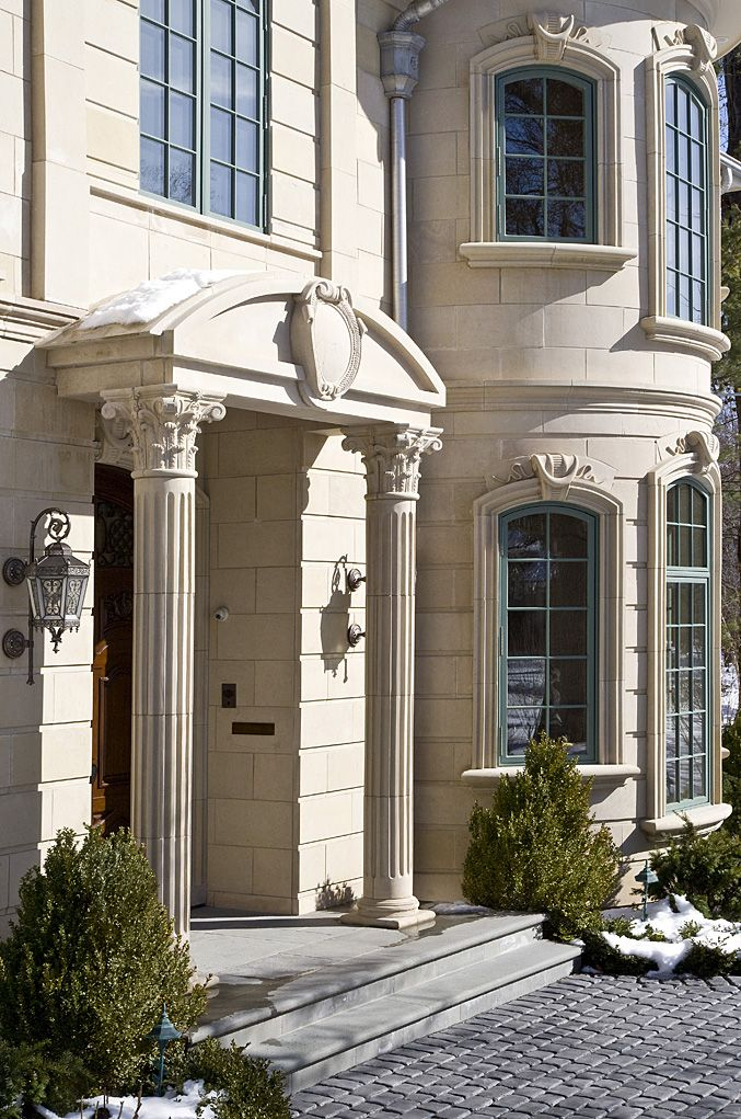 Square Pillar Columns Front Porch Facade House Styles Beautiful Homes House Design