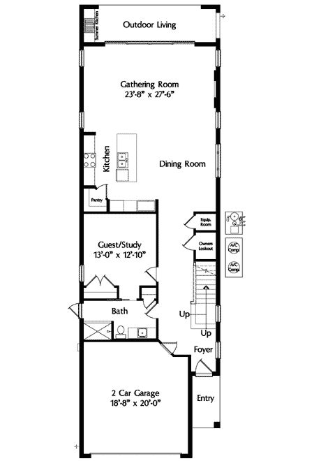 plan 42823mj narrow lot mediterranean house plan - Narrow House Plans