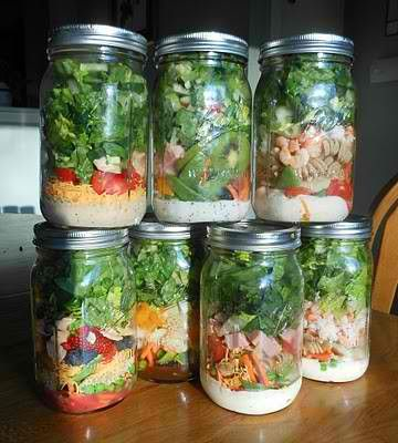 make a week's worth of salads and store them in mason jars. they'll stay fresh 6-7 days when you put the ingredients in the right order.