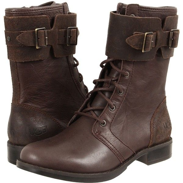 UGG Maaverik Women's Boots, Brown ($225) ❤ liked on Polyvore featuring shoes, boots, ankle boots, brown, low heel ankle boots, lace up combat boots, short lace up boots and short boots