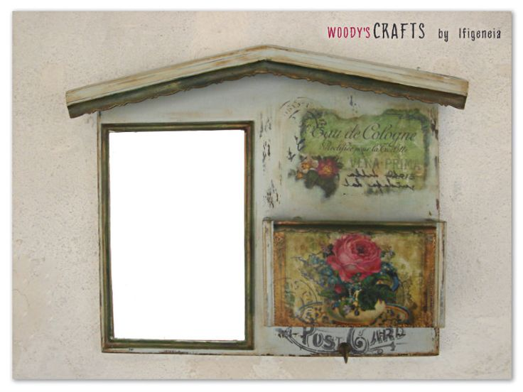 Χειροποίητη ξύλινη γραμματοθήκη-καθρέφτης   Διακοσμητικά Τοίχου   Περισσότερα στη διεύθυνση: http://j.mp/woodys-crafts-gallery-kleidothikes-grammatothikes