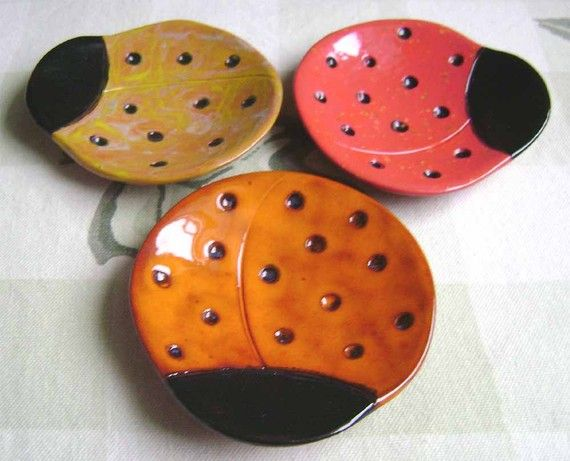 Ladybug Ceramic Dish bowl good luck jewelry ring por MadgeDishes