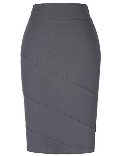 5cc09139ef94 Kate Kasin Bodycon Wear to Work Stretchy Women Cotton Pencil Skirt ...