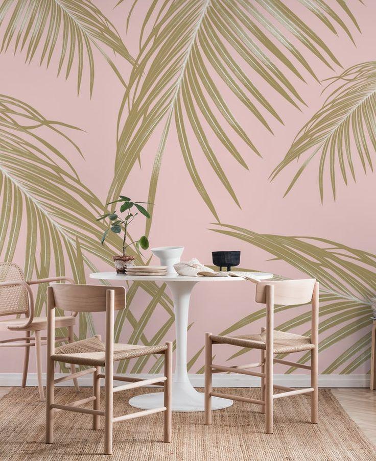 Blush Gold Palm Leaves Dream 1 Wall mural Palm wallpaper