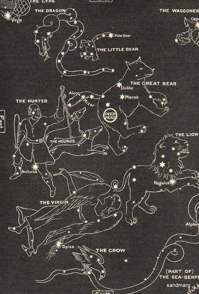 1902 Map Of The Stars In Spring Leo Virgo The Crow By Sandmarg