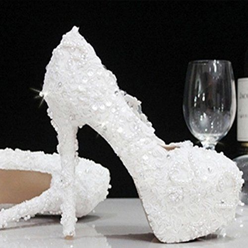Si& Crystal Schuhe Strass Spitze/Perlen/weibliche Hand/weiss high heels Hochzeit Brautschuhe Bridal Shoes , white , 38