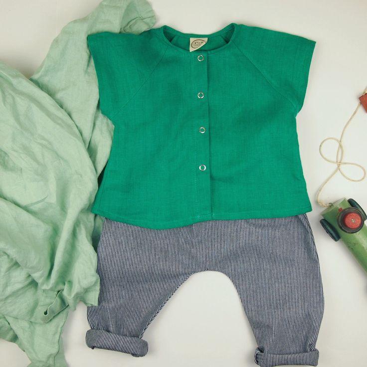 100% Linen, Raglan Short Sleeve Shirt. Bias Binding At
