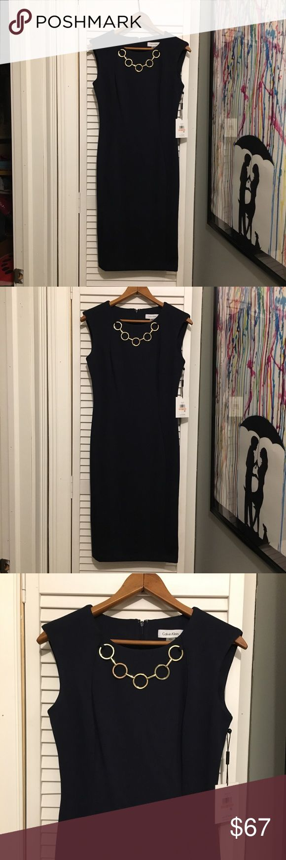 Calvin Klein Sheath Dress Navy, fitted, gold chain sewn in necklace detail. Work or special occasion dress. Zipper in back. Calvin Klein dresses Dresses