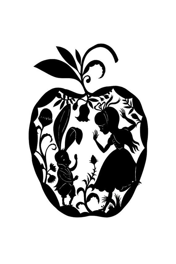 Alice in Wonderland. Cool tattoo idea....but I dont understand the apple...Maybe it should be a Spade or a Rose?