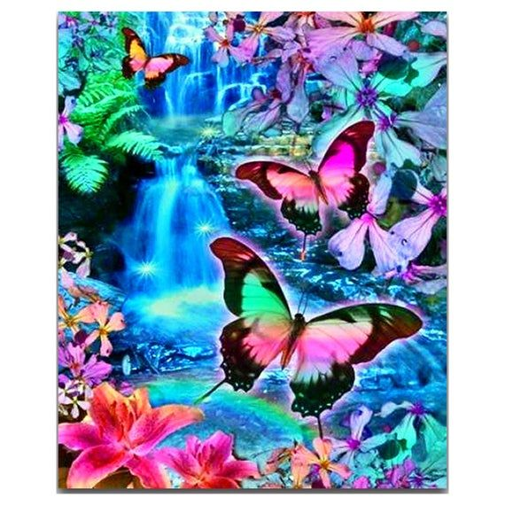 Christmas Butterfly Flower 5D Diamond Embroidery Painting DIY Cross Stitch Kit