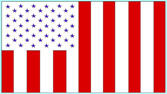 """The United States Civil Flag of Peacetime -  We the People of the United States, actually have two national flags, a military flag and a civil flag for peacetime. They have several important distinctions and meanings.  Almost all Americans think of the Stars and Stripes """"Old Glory"""" as their only flag.  MORE.... http://www.barefootsworld.net/uscivilflag.html"""