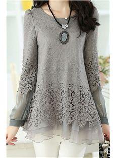 $ 26.29 Nice Patchwork Mesh Hem Long Sleeves Lace Women Blouse