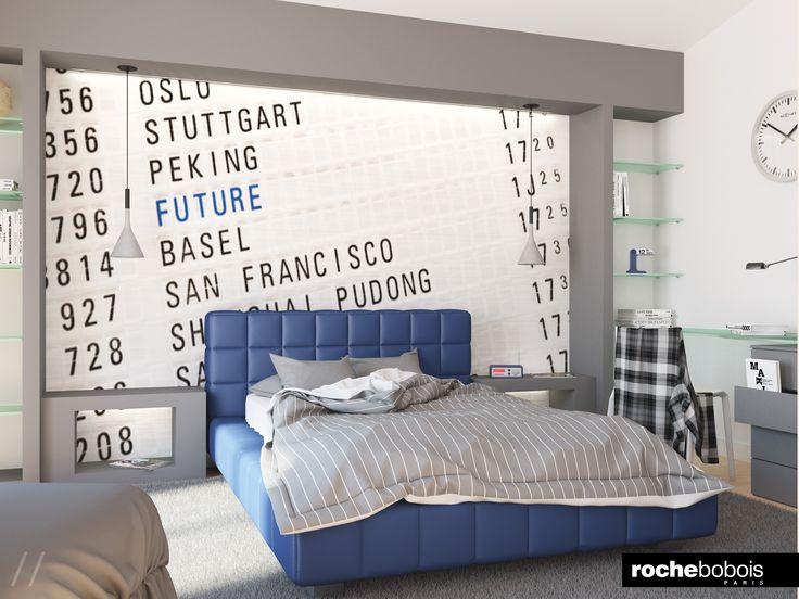 #Bedroom #Camera da #Letto #Minimal #Blu e #Grigio #Letto #Famous #Portale #Libreria #Cartongesso e #Cristallo