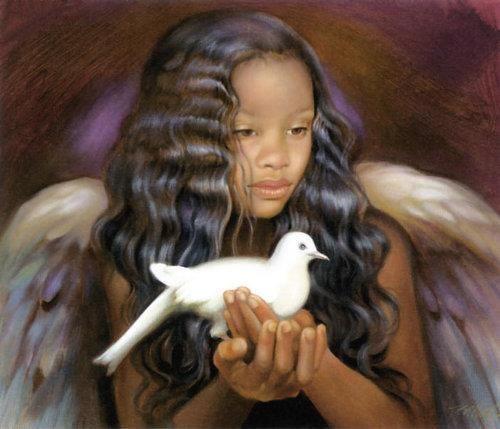 Ange et colombe.