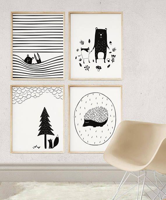Scandinavian Modern Nursery Decor | Kids Poster | Black and White Woodland Print | Monochrome Animal Art | Baby Room Art | Fox Nursery Print
