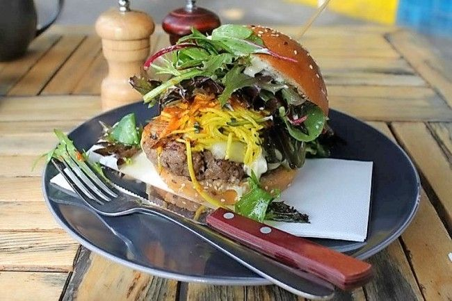 Wagyu beef burger at Mr Ed cafe. Photo: Sue Hewitt