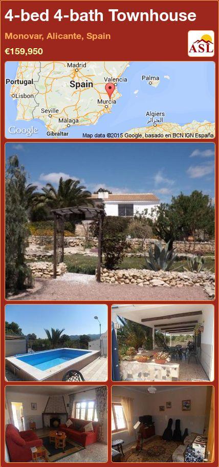 4-bed 4-bath Townhouse in Monovar, Alicante, Spain ►€159,950 #PropertyForSaleInSpain