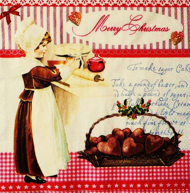 """♥ декоративный элемент бумажного полотенца дети / ретро- """"Шоколадная пирожных и Ноэль"""" редкость"""