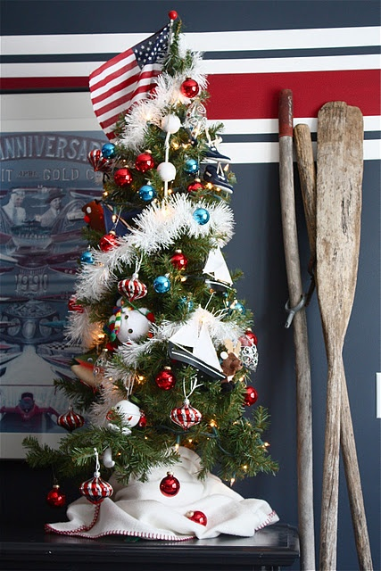 Red, white and blue nautical Christmas, from The Yellow Cape Cod: