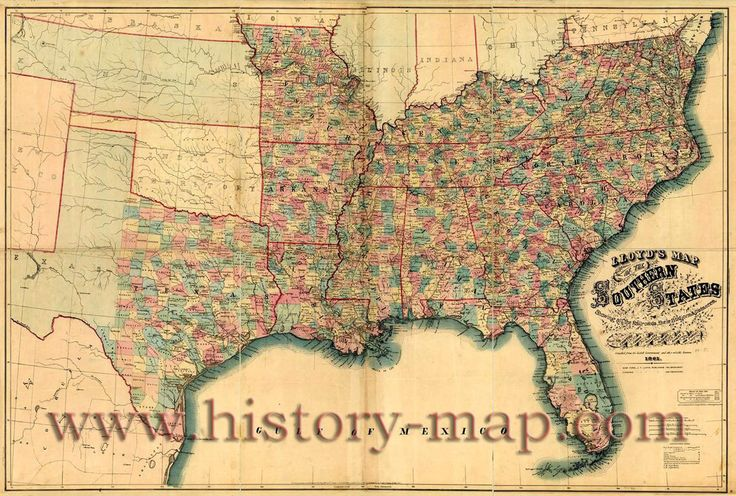 Map of the Confederate States.  Lloyd's map of the southern states showing all the railroads, their stations & distances, also the counties, towns, villages, harbors, rivers, and forts. It was taken in 1861.   Southern States.