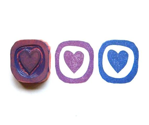 Heart in a frame hand carved rubber stamp
