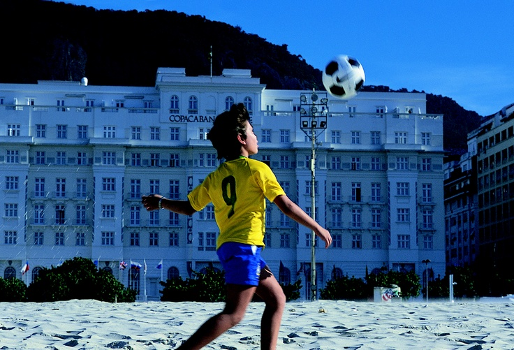 Playing soccer on the beach at the Copacabana Palace in Rio de Janeiro, Brazil.  #worldsbesthotels2014