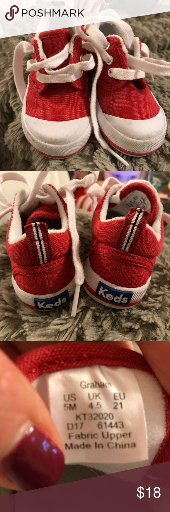 Kids size 5 red keds Like new red kids keds size 5 Keds Shoes