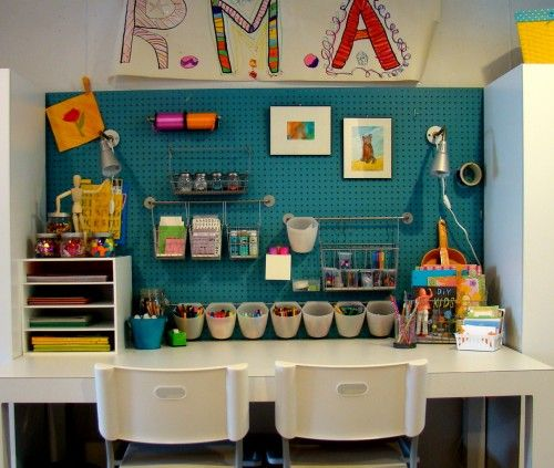 great idea! Lovely bright colours!: Crafts Area, Idea, Art Studios, Crafts Rooms, Crafts Spaces, Peg Boards, Glitter House, Kids Crafts, Kids Art