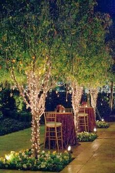 Gorgeous, ethereal lighting in a pretty yard, or wrap the pergola legs in lights.