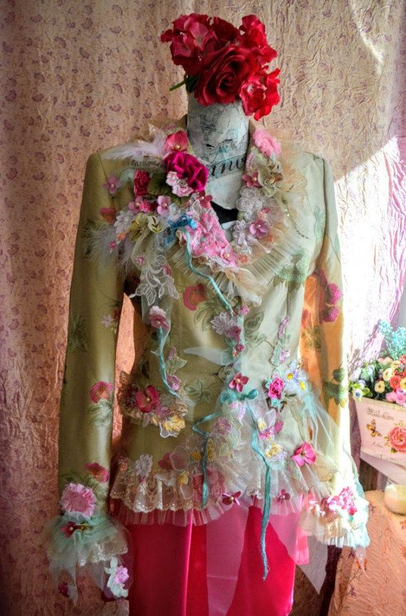 Altered couture jacket wearable art  embroidered art to wear
