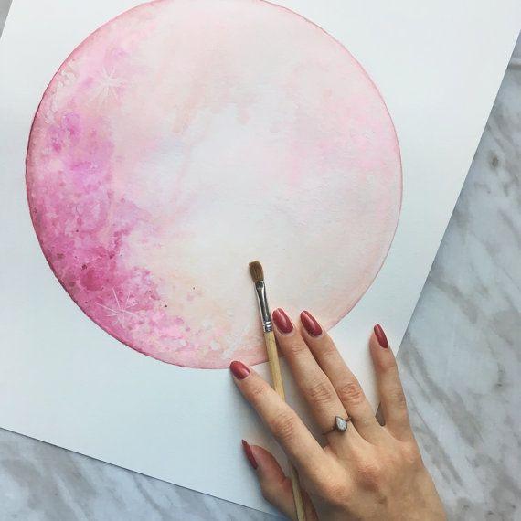 Dipinto originale di luna, Luna arte, Lunar opera d