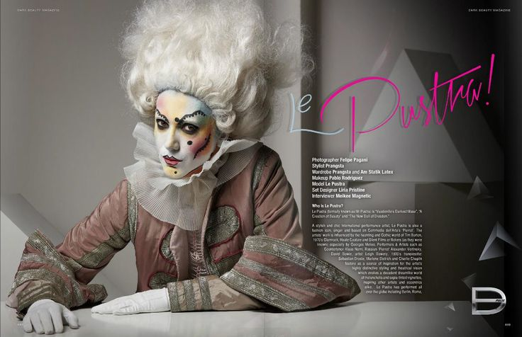 Le Pustra Interview in Dark Beauty Magazine Photography / © Felipe Pagani Costume / Prangsta Make-up / Pablo Rodriguez makeup Set Design / Liria Pristine Model / Mr Pustra