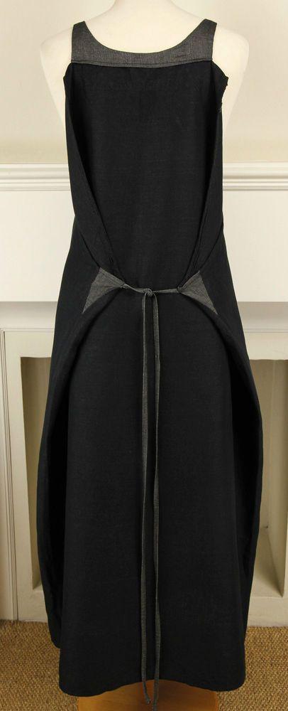 Sarah Pacini pocket & tie detail curved silhouette linen mix dress S UK 10 12 14