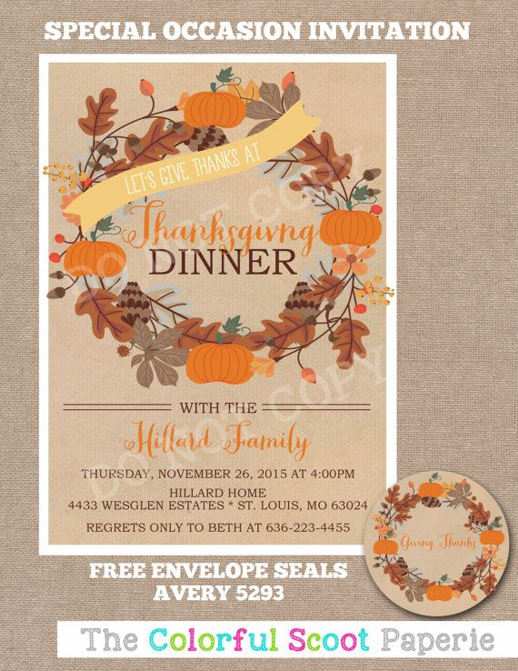 Thanksgiving Invitation Thanksgiving invite by TheColorfulScoot