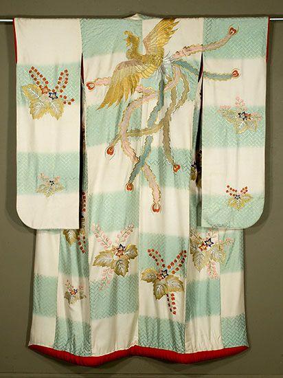 vintage silk kimono, K-9262, Japanese Uchikake...blossoming paulownia and the golden crane on checks...Arigatou  gozaimasu  :)