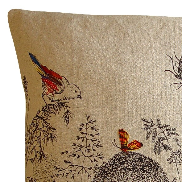 Bird and Butterflies embroidered cushion by Lara Sparks