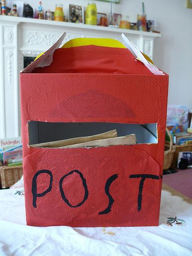 Easy to make and children can then use envelopes and paper to make their own letters to post. When they have had a little practise they can write and address a real letter to post in a real box. Great EYFS activity KUW, CLL, CD, PSED (sorry for jargon!)