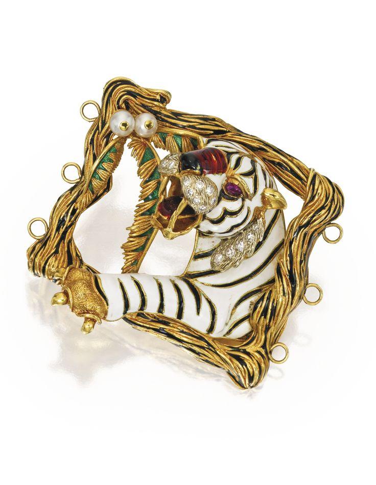 PROPERTY FROM THE ESTATE OF LYNN WOLFSON, 18 Karat Gold, Diamond, Ruby, Cultured Pearl and Enamel Belt Buckle, Rino Frascarolo, rom the 'Bestiario Feroce' collection circa 1966-1971.