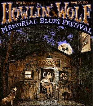 The poster for the Howlin' Wolf Memorial Blues Festival depicts Howlin' Wolf playing at Roxy's juke joint in White Station.