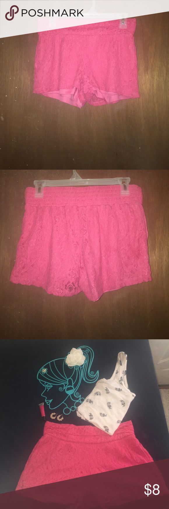 Be Bop Romantic Pink Lace Shorts These shorts are absolutely adorable and easy to pair with just about any tank top or camisole and sandal or flip flop!! They are Be Bop. These shorts were designed in California and made in Vietnam. The outside lace is made of 60%cotton and 40%nylon and the inside lining is made of 100%polyester. BeBop Shorts