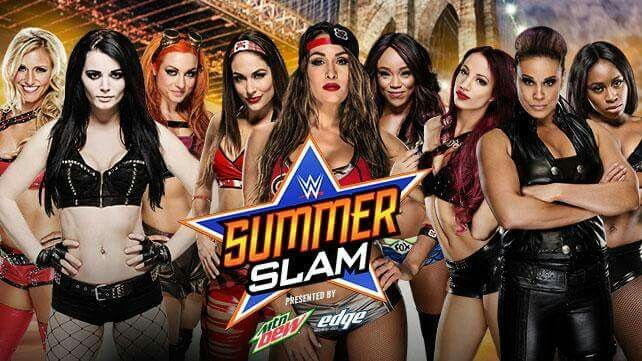 PCB Paige Charlotte Becky Lynch vs Bella Brie Nikki & Alicia Fox vs Bad Sasha Banks Tamina Snuka & Naomi