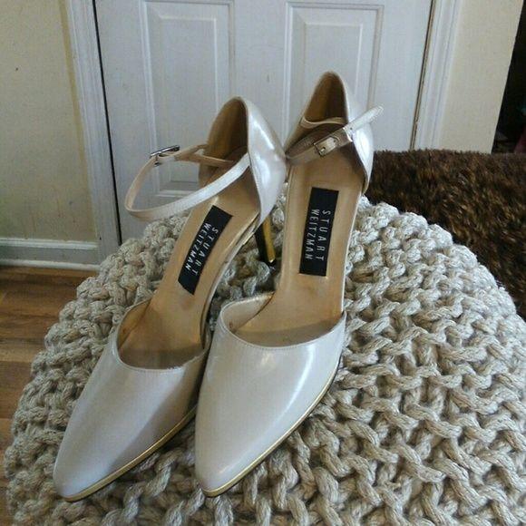 Stuart Weitzman women's platform shoes Taupe with gold trim heels Stuart Weitzman Shoes Heels